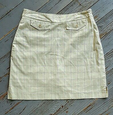 Womens EP Pro Golf Beige Plaid Athletic Moisture-Wick Stretch Skort Skirt Size 4