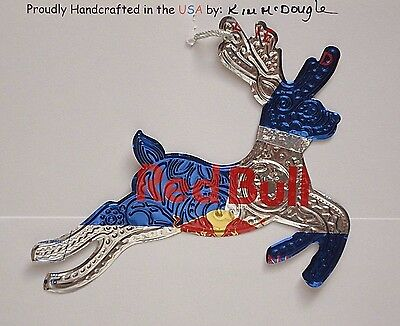 Embossed Reindeer Handmade Christmas Ornament Recycled Red B Energy Drink Can
