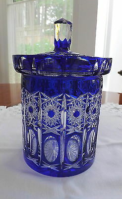 Bohemian Czech Cut To Clear Cobalt Crystal Lg Biscuit Cookie Jar Starburst