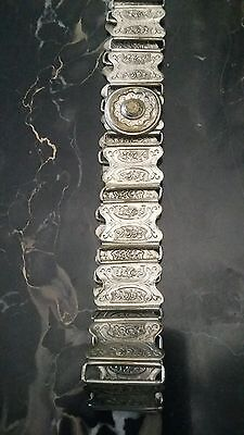 Antique Victorian BEAUTIFUL Ornate Silver Belt Nouveau Deco Mourning Wearable