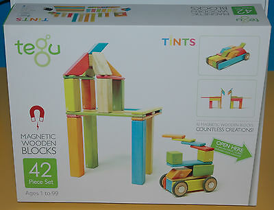 Tegu Magnetic Wooden Block Building system 42 piece Tints Set Free Shipping !!!