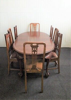 Antique chippendale style carved  kitchen / dining table - 8 seater