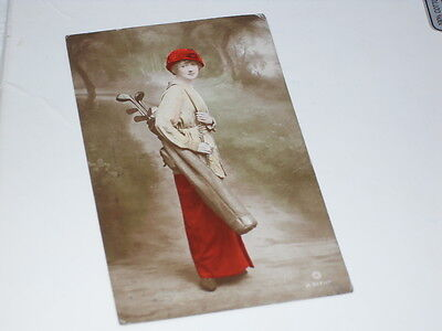 """Rare early Golfing postcard """"Miss Kathleen Vincent"""" Hand painted real photograph"""