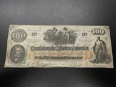 1862 Confederate Bank Note 100 Dollar  Richmond