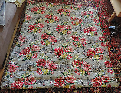 Vintage Barkcloth Quilt French Cottage Flowers
