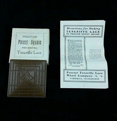 Antique PROCTOR Patent Square for Making TENERIFFE LACE 1903 Brown