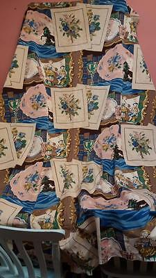 VINTAGE 1950s SANDERSON SCREEN PRINT COTTON FABRIC LARGE AMOUNT 84 X 94 INCHES