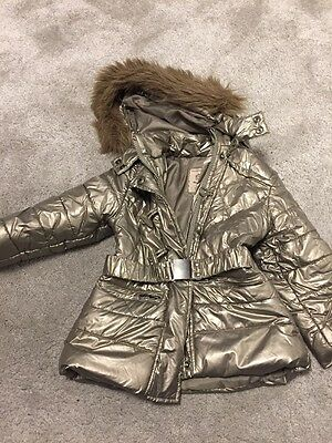 Girls Cute Hooded Silver Coat, Mayoral, Age 2
