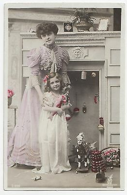 Mother & Child with CHRISTMAS Gifts 1908 Kunzli Frères French Art Nouveau RPPC