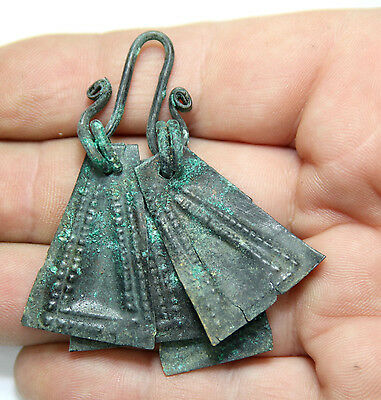 Ancient Viking Bronze pendant AMULET GREAT SAVE double pendant  amazing conditio