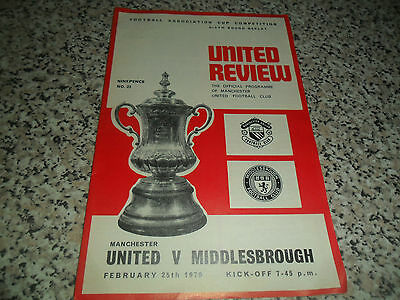 Manchester United V Middlesbrough F A Cup Sixth Round Replay 25 February 1970