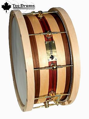 Tee Drums 13x5 Snare Drum featuring an outer ply of Walnut with Birdseye inlay
