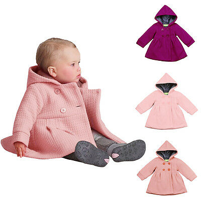 Toddler Baby Girl Clothes Hooded Trench Coat Wind Jacket Kids Outwear Size 12M-3