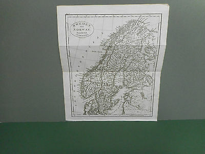 100% Original Sweden And Norway  Map By Guthrie C1806 Vgc
