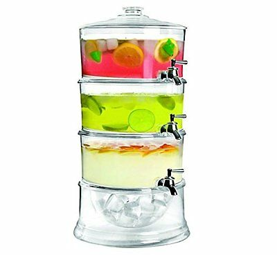 Jumbl Stackable 3-Gallon Beverage Serve-Chilled Dispenser | 3-Tier Ice Chamber