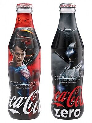 EMPTY NEW COCA-COLA TURKEY BATMAN SUPERMAN  SET of 2 GLASS BOTTLES