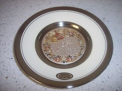 Dynasty Art Of Chokin 25th Anniversary Plate Engrave Copper Gilded Silver Japan