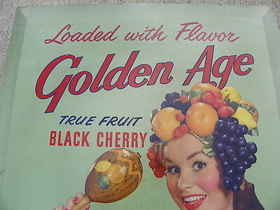 Golden Age Black Cherry Soda Large Cardboad Rare Sign!