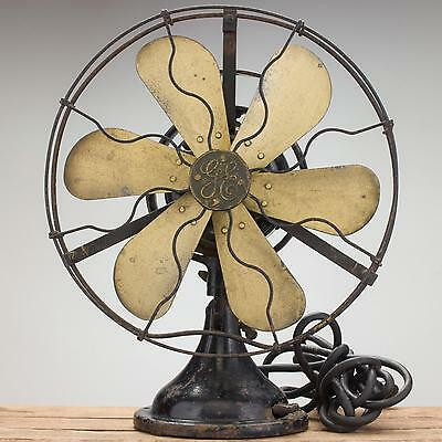 "Antique 16"" General Electric 2-Star Oscillating Fan 1917 GE 6-Blade Oscillator"