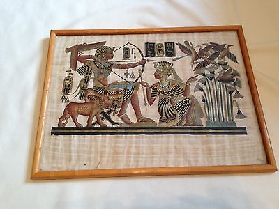 Egyptian Papyrus Genuine Hand Painted Ancient Egypt Scene 41cm x 31cm Framed