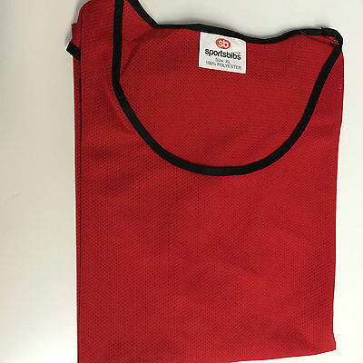 11 x SPORTSBIBS FOOTBALL NETBALL RUGBY CRICKET MESH TRAINING BIBS YOUTH RED (08)