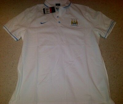 Manchester City White Polo Shirt by Nike - Size Large - BNWT