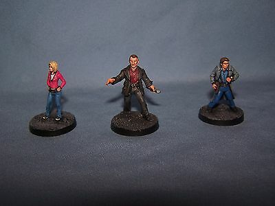 Painted 28mm 9th Doctor Who, Rose Tyler and Capt Jack Harkness