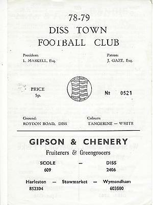 DISS TOWN v SHERINGHAM 78-9 Anglian Combination Programme