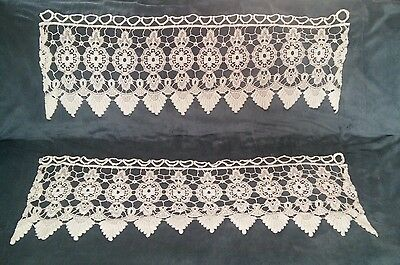 "2 Vintage Antique White Scalloped Floral Lace Valance  Curtain Pair 11"" x 33"""