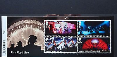 GB mint stamps.  Pink Floyd Live miniature sheet with barcode