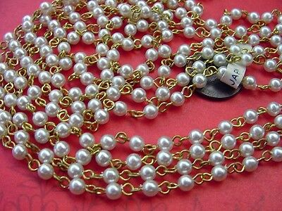 Vintage 12.5 inch 4mm Plastic Base Pearl Bead Rosary Style Chain Lengths Japan 4