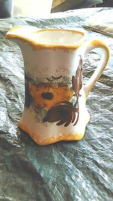 Vintage Cash Family ORANGE AND BROWN  Hand Painted  Cream /Pitcher