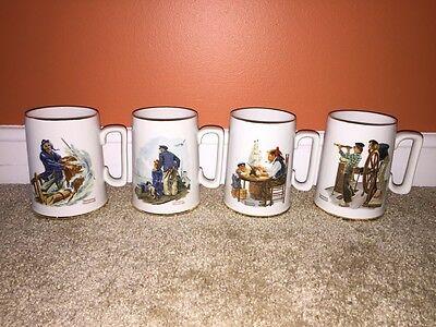 4 Set Norman Rockwell Nautical Themed Gold Rimmed Mugs Excellent Condition 1985