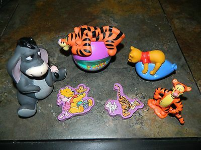 Disney's Winnie The Pooh - Tigger Rattle And Various Plastic Toys - Lot Of 6