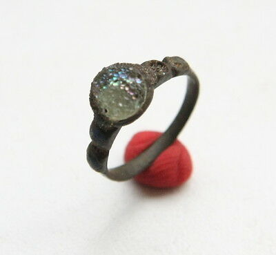 Ancient Medieval Bronze Tiny Size Finger Ring With Inlay (DEC)