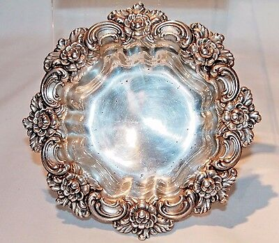 Antique Sterling Silver Repousse Bowl / Floral Dish Frank M. Whiting Co SILVER