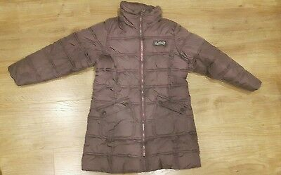 Girls brown Next padded coat with hood age7-8 years