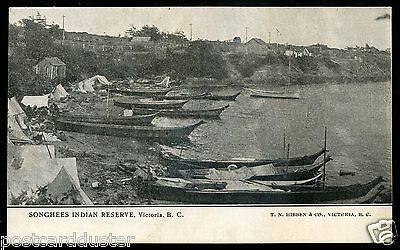 049 - VICTORIA BC 1906 Songhees Indian Reserve. Boats by Hibben