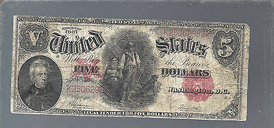 1907 $5 Woodchopper  Currency