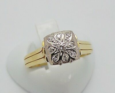 18ct YELLOW GOLD HIGH SQUARE TOP DIAMOND RING - RING SIZE P