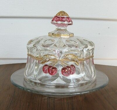 Vintage Cherry Glass Covered Butter Dish