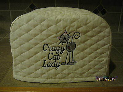 New Crazy Cat Lady 2 or 4 Slice Toaster Covers Cream Color. Kitchen Decor, Cats