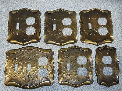 6 Vintage Amerock Scrolled Paper Brass Metal Outlet Light Switch Plate Covers