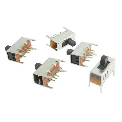 On/On/On Miniature 3 Positions Slide Switch 3P2T 8 Pin 5 Pcs