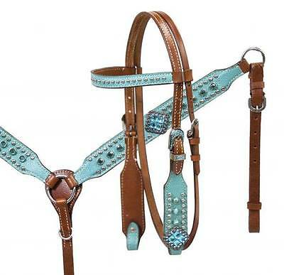 Showman Pony size Turquoise leather overlay HS & B/C SET with turquoise stones!