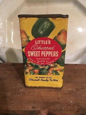 Vintage LITTLES Sweet Peppers Spice Tin Can Chicago Il 1/2 oz. Nice Graphics