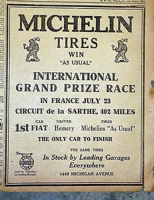 """1911 Newspaper Ad - Michelin Tires """"Win As Usual"""" International Grand Prize Race"""
