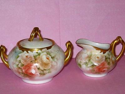 LIMOGES HAND PAINTED PEACH YELLOW ROSES CREAMER AND SUGAR BOWL SET c.1900'S