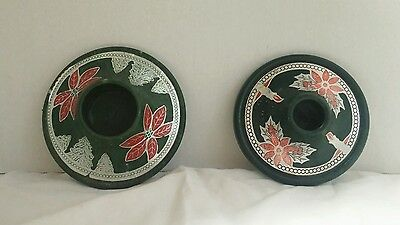 2 Different VTG. Red Green Silver Poinsettia Christmas Bakelite Candle Holders