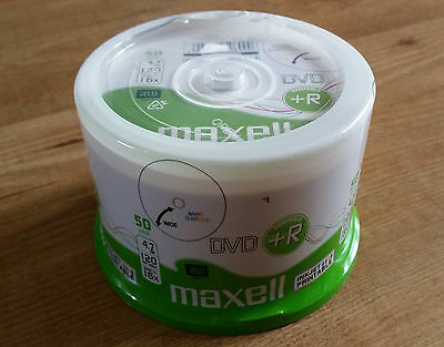 50 MAXELL DVD+R DVDR Discs Blank Media 4.7GB 120MINS 16X SPEED - NEW SEALED